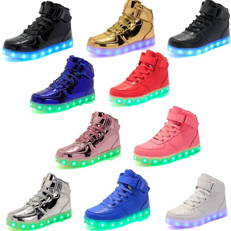 a18e3aa24306 2019 Children LED High Top Shoes Kids Luminescence Shoes Colorful Glowing  Baby Sneakers USB Charging Light Casual Shoes GGA1044 From  Liangjingjing no1