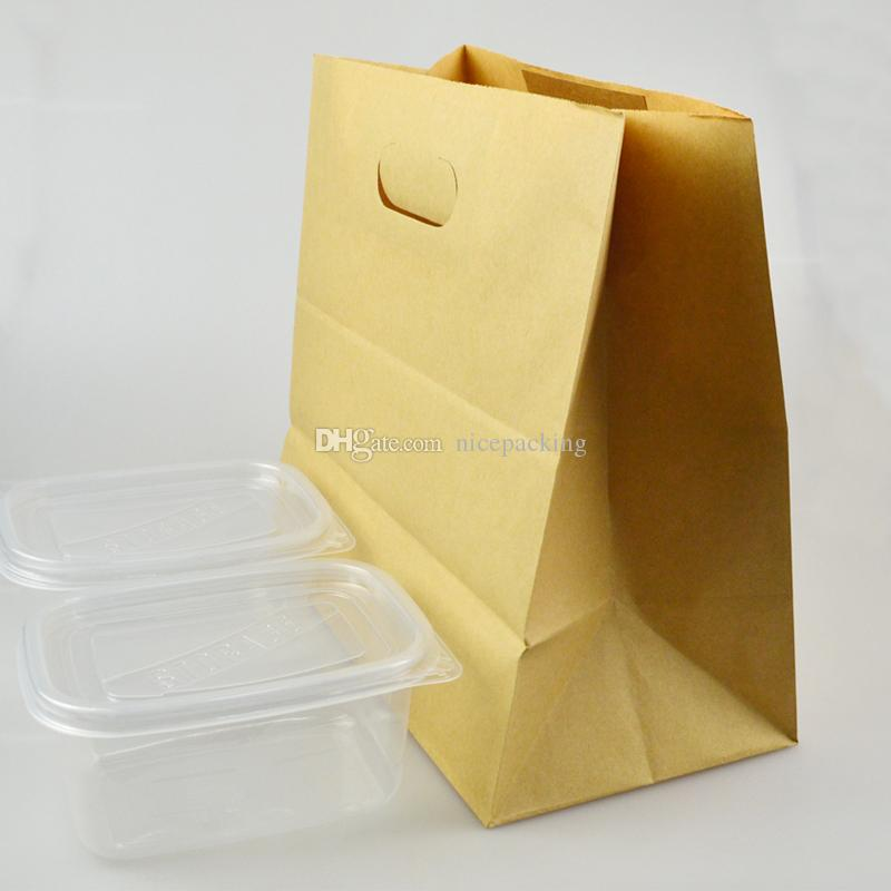 kraft paper bag with oval-shapped handle for cake/candy/clothes/take away food/picnic/gift packing by DHL