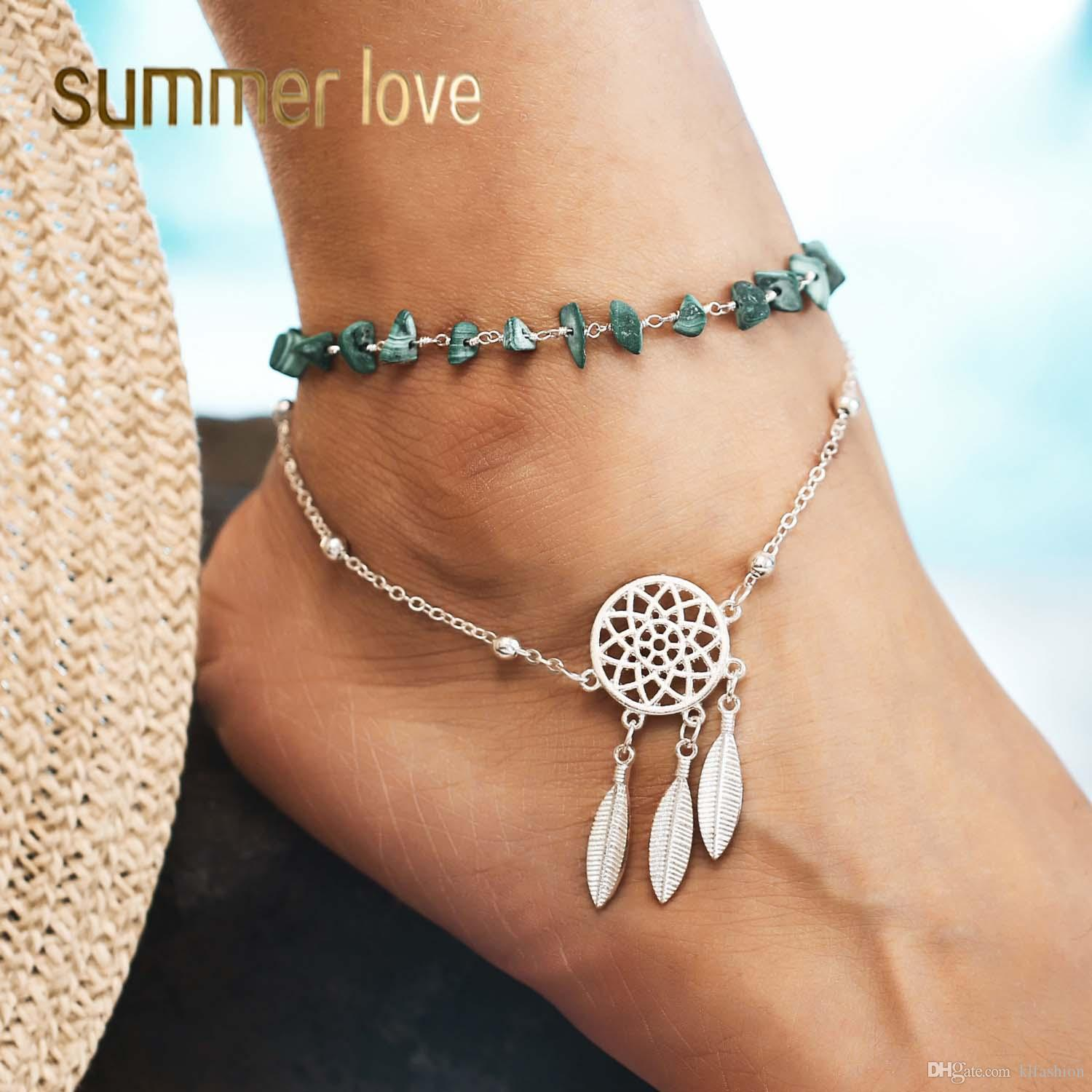 51b0c3ae6aa53 New Style Chic Women Boho Ethnic Irregularity Stone Anklets Dreamcatcher  Foot Chain Beach Jewelry Fashion Leaf Feather Charm Accessories