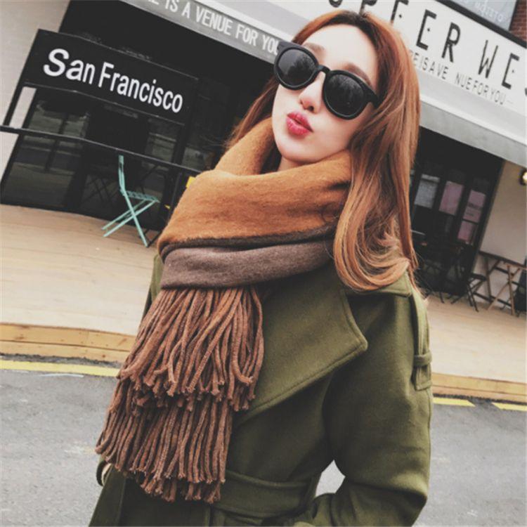 d9347d29e7db Winter Long Cashmere Warm Scarf Scarf Woman Winter Scarf Shawl Poncho  Bandana Luxury Designer Stoles 210 70 Cm