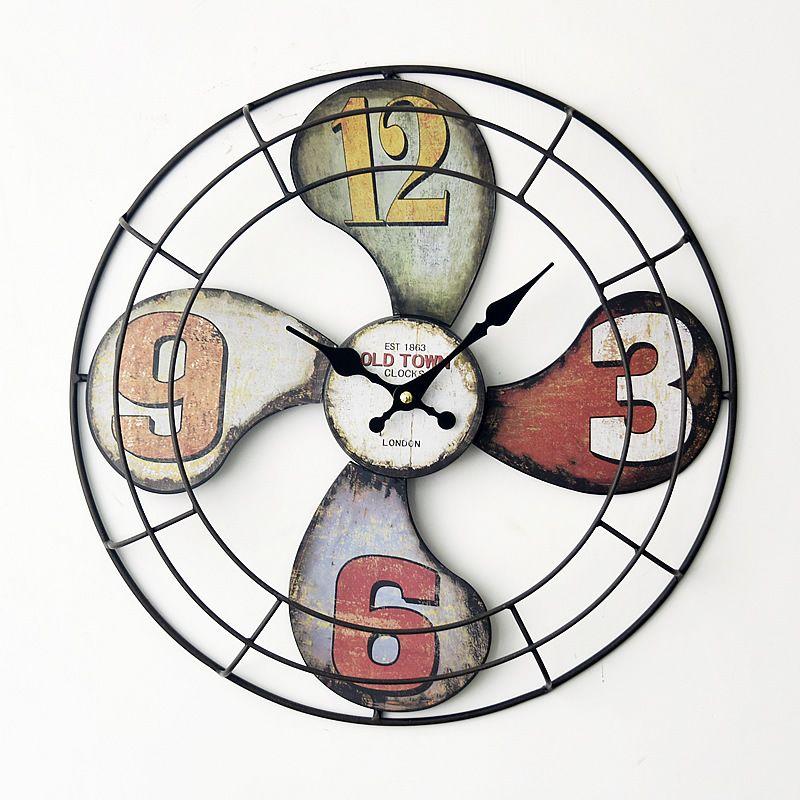 4040cm Europe Style Creative 3d Iron Fan Model Wall Clock Vintage