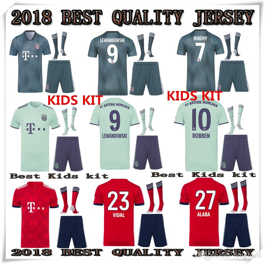 the latest 90970 5c75f 2018 2019 Bayern Munich HOME Away THIRD Kids Kit jerseys JAMES VIDAL RIBERY  GOTZE SANCHES 18 19 LEWANDOWSKI MULLER ROBBEN football shirt