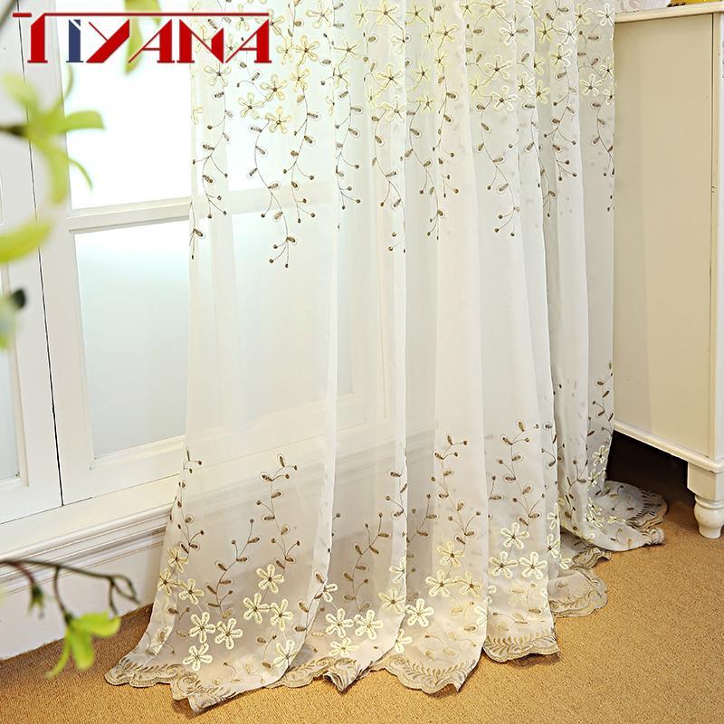0b589ade4147 Compre Flor Bordada Tul Blanco Cortinas Para Sala De Estar Beige Cortinas  Transparentes Para El Dormitorio Acabado Cortina De Gasa Cortinas Wp2732 A  $33.64 ...