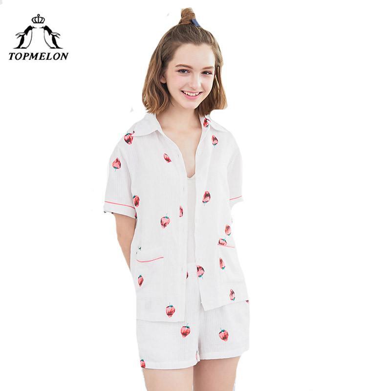 2f009c9cc7962f Atacado Moda Verão Pijama 2018 Duas Peças Pijamas Camisa Shorts Doce  Morango Padrão de Manga Curta Desgaste da Noite Pijama