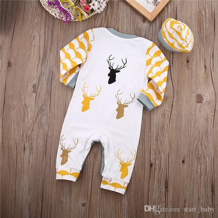 Mode Baby Jungen Spielanzug Weihnachten Kleinkind Rentier Baumwolle Overall mit Hut Casual Jungen Kleidung B11