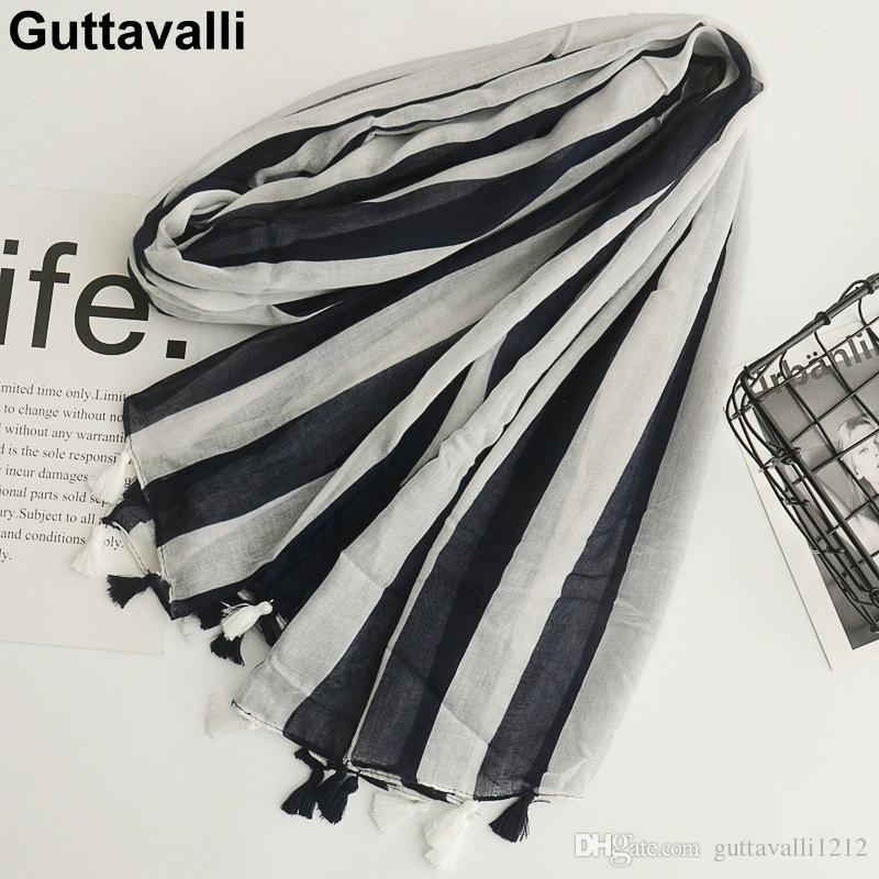 Guttavalli Women Striped Lines Cotton Tassels Long Shawl Female Soft Black White Geometric Wraps Chevron Sunscreen Soft Scarves