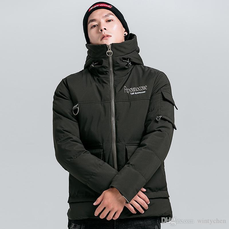 Großhandel 2018 Neue Herren Outwear Winter Warme Jacke Im Französischen  Verkauf Für   100 Jugend Trend Englische Stickerei Mit Kapuze Dicke  Baumwolljacke ... 240ba210d5