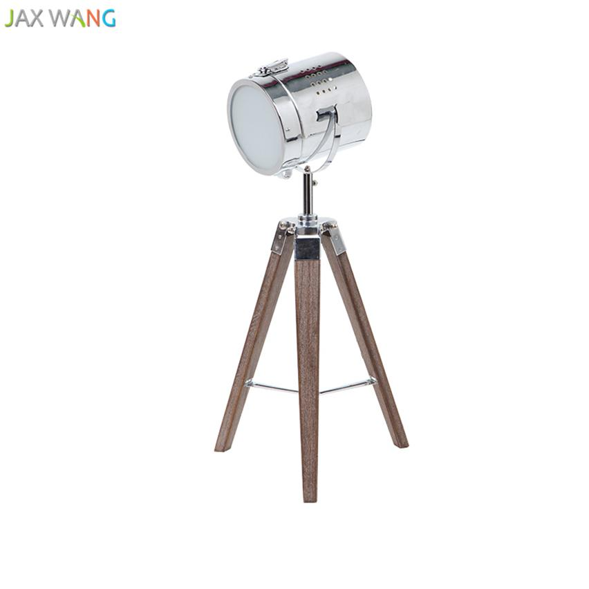 2019 Nordic Retro Industrial Solid Wooden Tripod Table Lamp