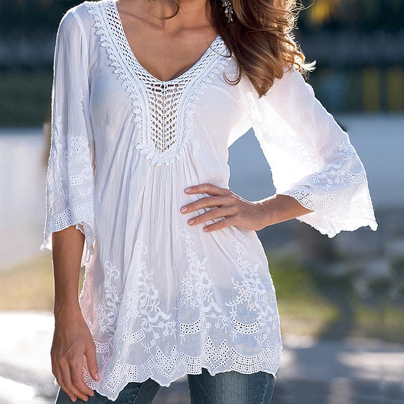 neues Hoch Premium-Auswahl feinste Auswahl Frauen Weiß Stickerei Bluse 2018 Sommer Tunika Tops Sexy 3/4  Aufflackernhülse V-ausschnitt Hohl Durchsichtig Beiläufige Strandblusen