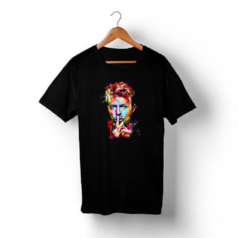 Cheap Custom T Shirt Printing O-Neck Novelty Short Sleeve Mens David Bowie Shh Tees