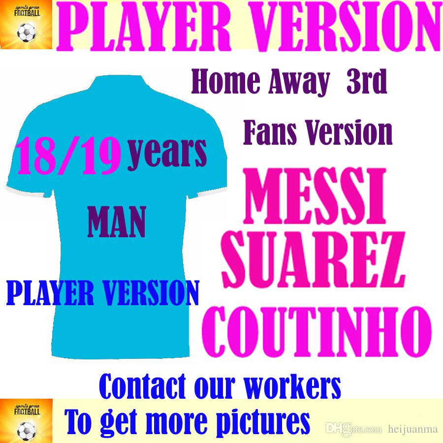 4d3b42f4fad 2019 Player Version 2019 MESSI Home Soccer Jersey 18 19  7 COUTINHO Away Soccer  Shirt Customized  11 O.DEMBELE  9 SUAREZ Club Football Uniform From ...