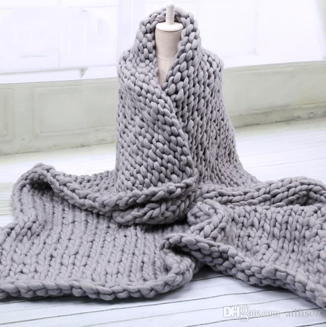 60X60CM/80X100CM Handmade Chunky Soft Giant Knitted Blanket Wool Thick Line Yarn Merino Throw Home Decor