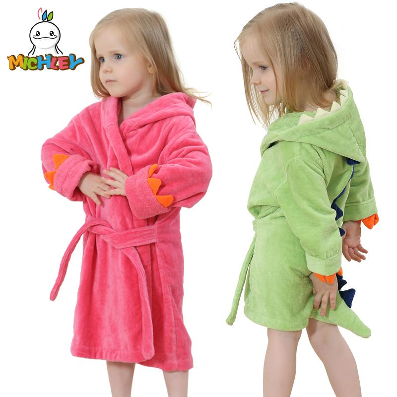 111b768bf9 MICHLEY Kids Bath Robes Adorable Baby Girl Roupao Hooded Children S Towel  Dinosaur Bathrobes Beach Swimwear Boy Pajamas JY0245 Children Pjs Kid  Christmas ...