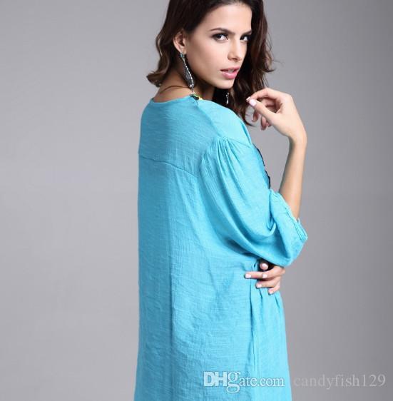 Roupas Femininas Bordado e madded metros desgaste das mulheres slub blusa de algodão de comprimento médio bordado