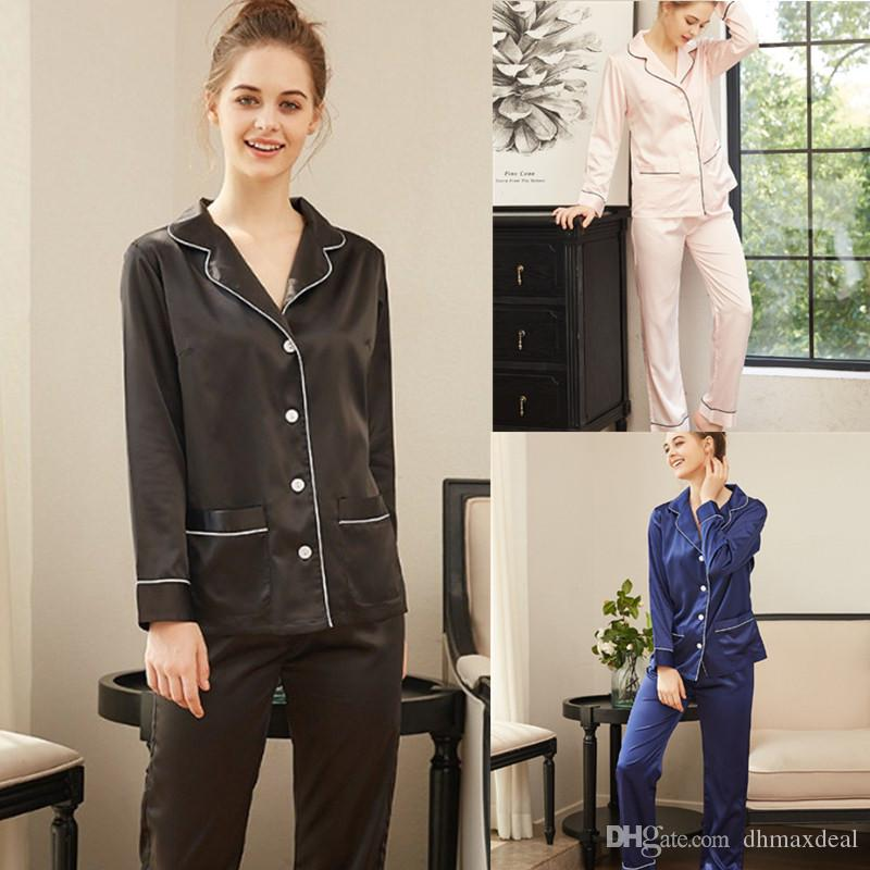 Cheap Sexy Women Silk Long Sleeve Sleepwear Set Autumn Lady House Nightwear  Pajamas Suit Size S-XL 1654bfe21