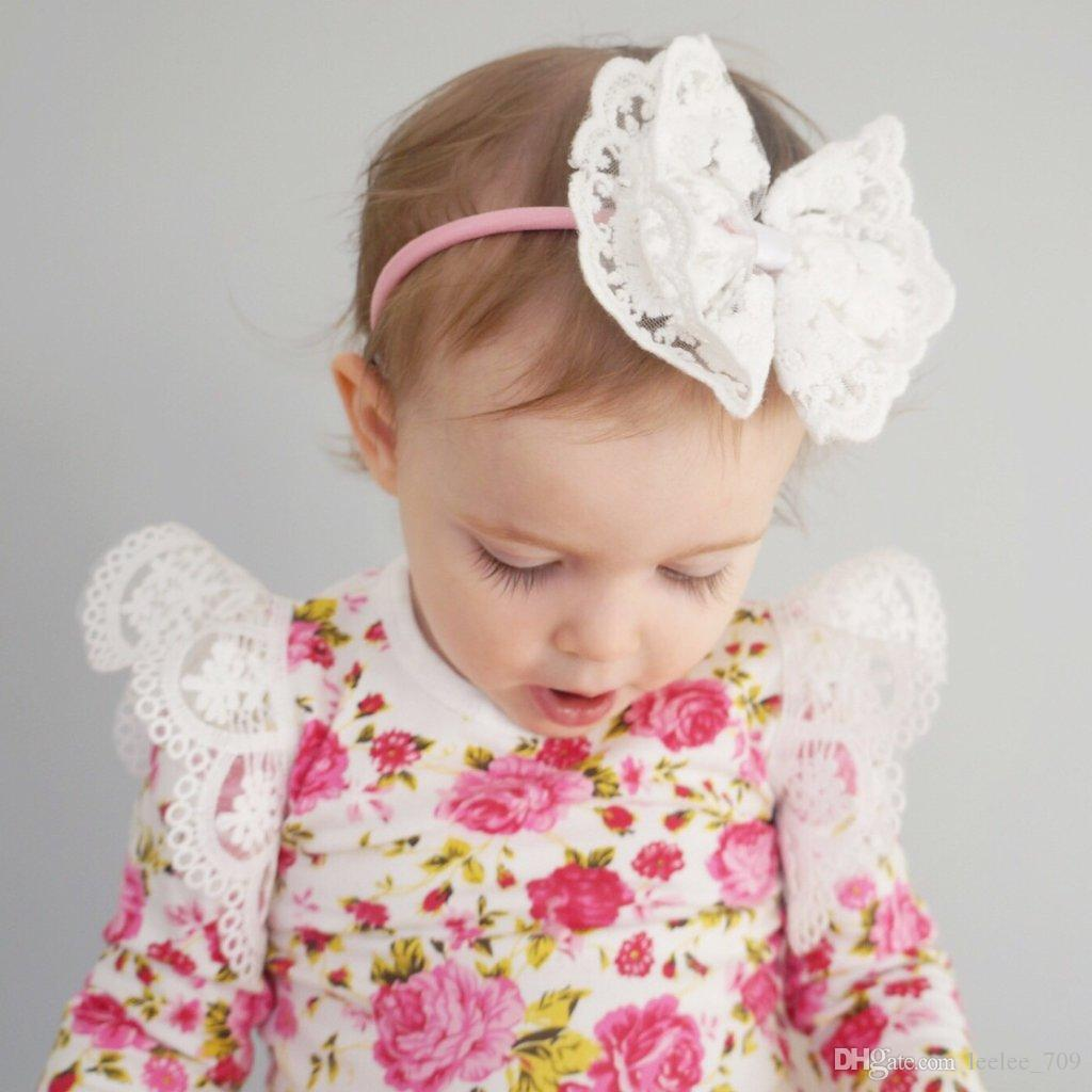 2018 INS hot Baby Girl Infant Toddler Rose Flower Floral Romper Onesies Jumper Jumpsuits Dress Diaper Covers Lace Ruffle Sleeve Shoulder