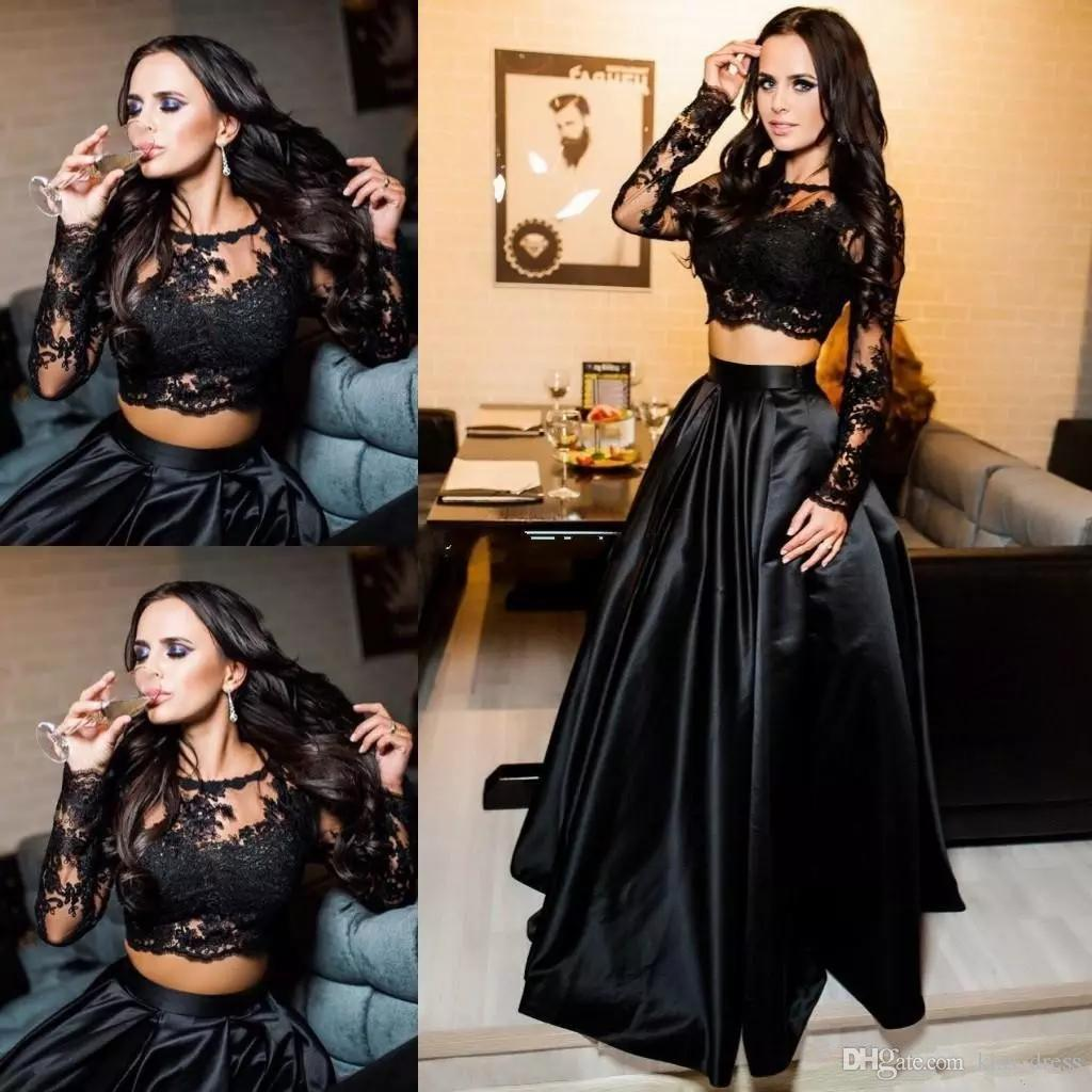Two Pieces Black Lace Prom Dresses 2019 New Design Custom Made Pleats Floor Length A-Line Long Sleeve Satin Formal Evening Party Gowns P150