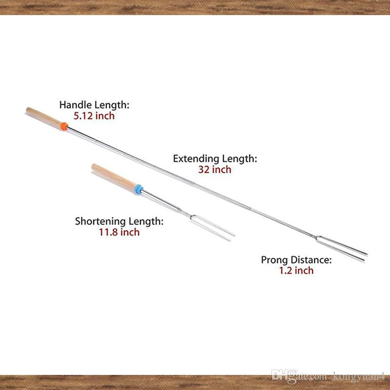 أدوات تحميص العصي - شوكات قابلة للتمديد ، شواية باربكيو 32 إنش ، تلسكوبات صغيرة ، أسياخ للرائحة ، هوت دوغ فايت بيت كامبينج