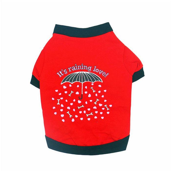 Spring Summer Pet Dog T Shirt Love Rain Bones Printed Cotton Clothing Apparel Wholesale