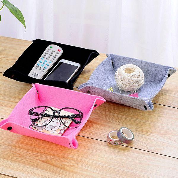 Wool Felt Travel Storage Tray Keys Coin Jewelry Sundries Storage Basket Case Organizer 25x25cm Modern Catchall Men Women Valet Tray Gifts