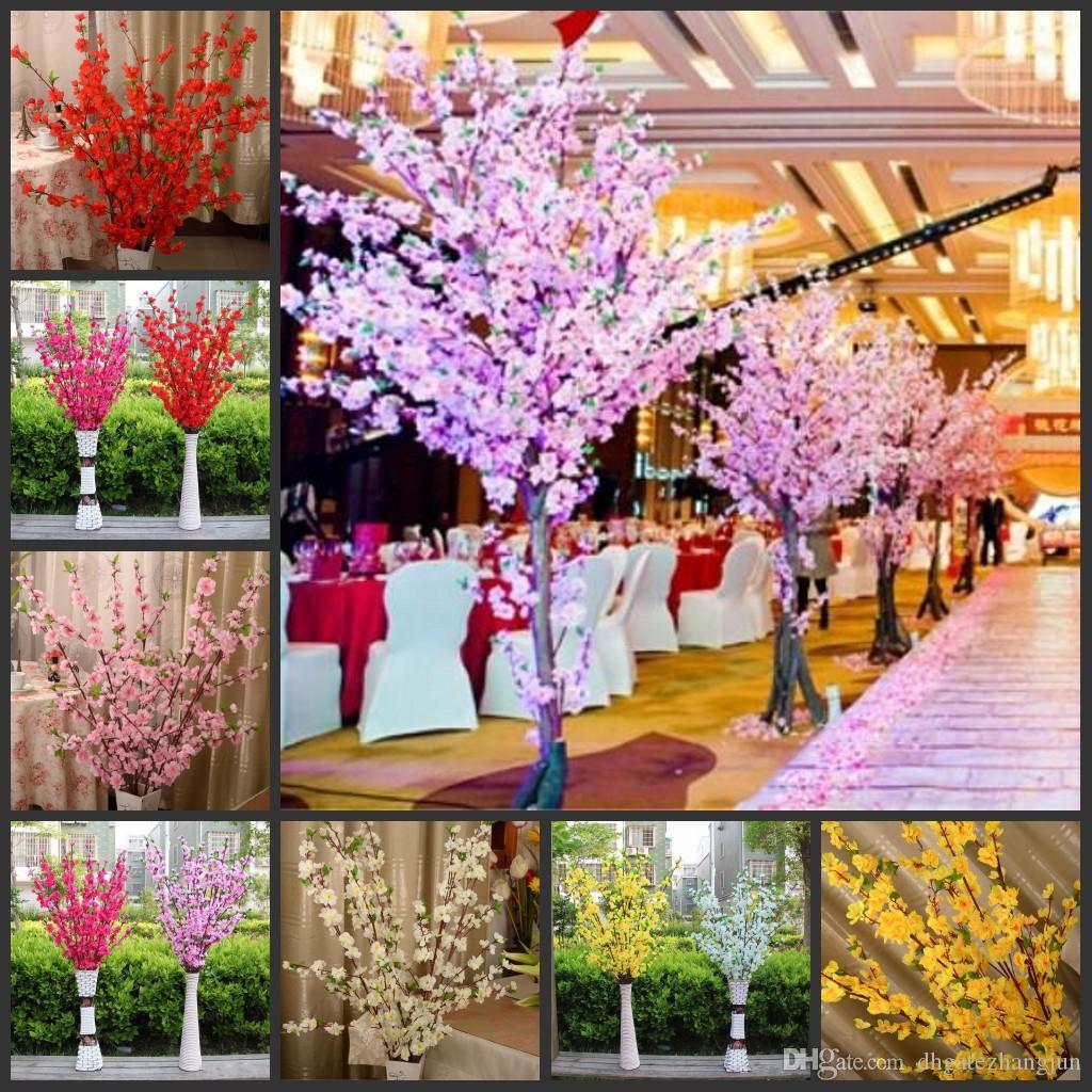 Artificial Cherry Spring Plum Peach Blossom Branch Silk Flower Tree