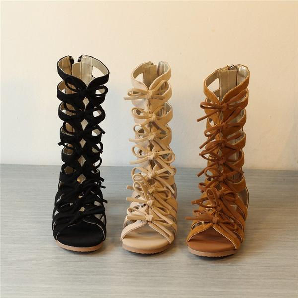 e66583ceb69 Summer Fashion Kids Roman Genuine Leather Brown Black Girls Gladiator  Sandals Boots High Top Toddler Baby Sandals Shoes Prom Shoes Silver Shoes  From Yrmmmm