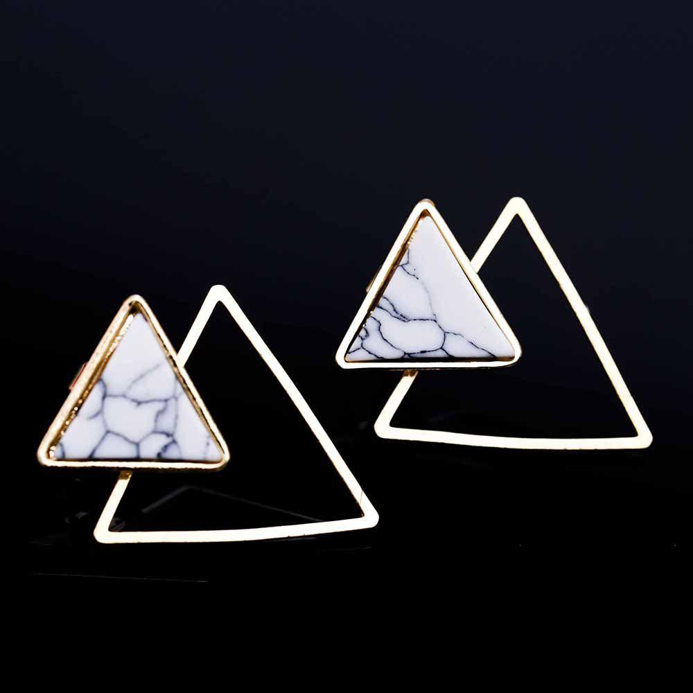 2017 Nuove donne Punk Orecchini tondo geometrico / quadrato / triangolo finto pietra marmorizzata dall'India pendientes