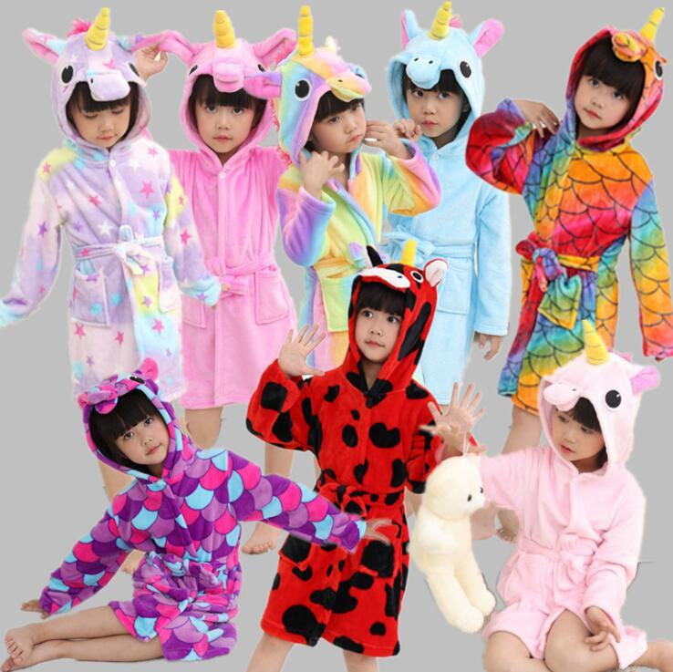 44b86079cb 2019 Kids Flannel Unicorn Bathrobe Pajama 17 Styles Animal Hooded Robe Kids  Sleepwear Children Clothes Girls Soft Sleep Robe OOA5469 From B2b life