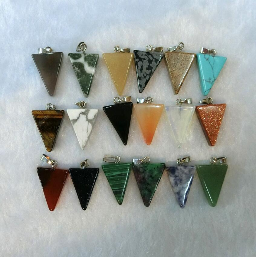 Geometric Natural Stone Necklace Triangle Crystal Druzy Necklaces Pesionality Colorful Gems Stones Pendant For Women And Men Wholesale