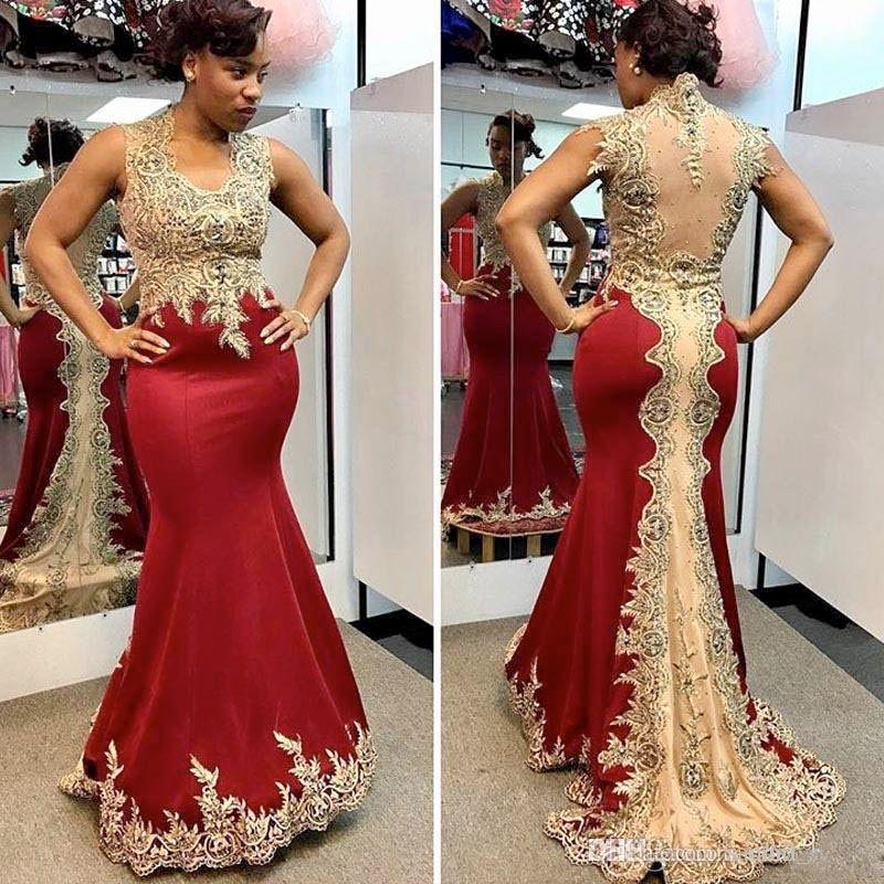 c88a3eca8c Compre ZYLLGF 2018 Vestidos Formales De Borgoña Vestido De Noche  Transparente Espalda Vestido De Fiesta Elegante Sirena Con Apliques De Oro  Vestido De ...