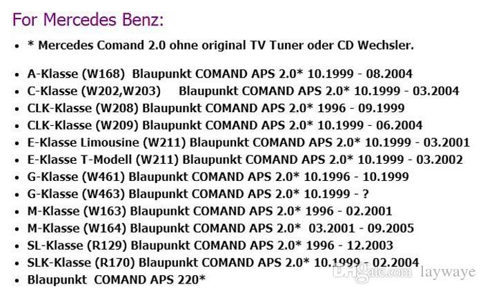 إدخال سيارة AUX كابل لمرسيدس بنز W168 W209 W211 W163 W203 W461 R129 CLK SLK مل COMAND APS CD