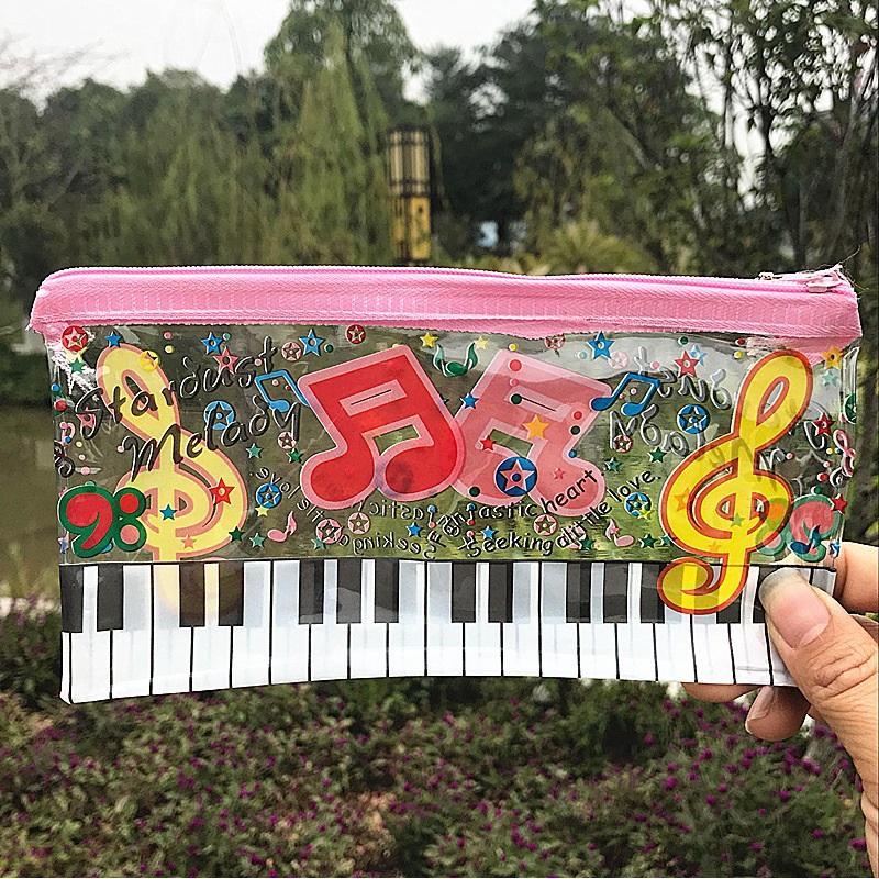 Piano Music Notation Transparent Kreative Federmäppchen Cute Girl Pencil Pouch Stift Aufbewahrungstasche Schreibwaren Geschenk ZA5812