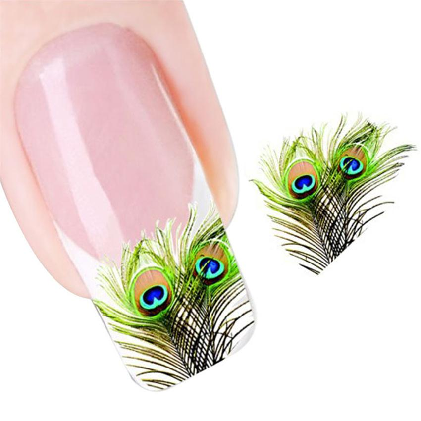 Sticker for nail Peacock Feather Nail Tip Art Water Transfers Decal Sticker stickers art cartoon nagel stickers 0925