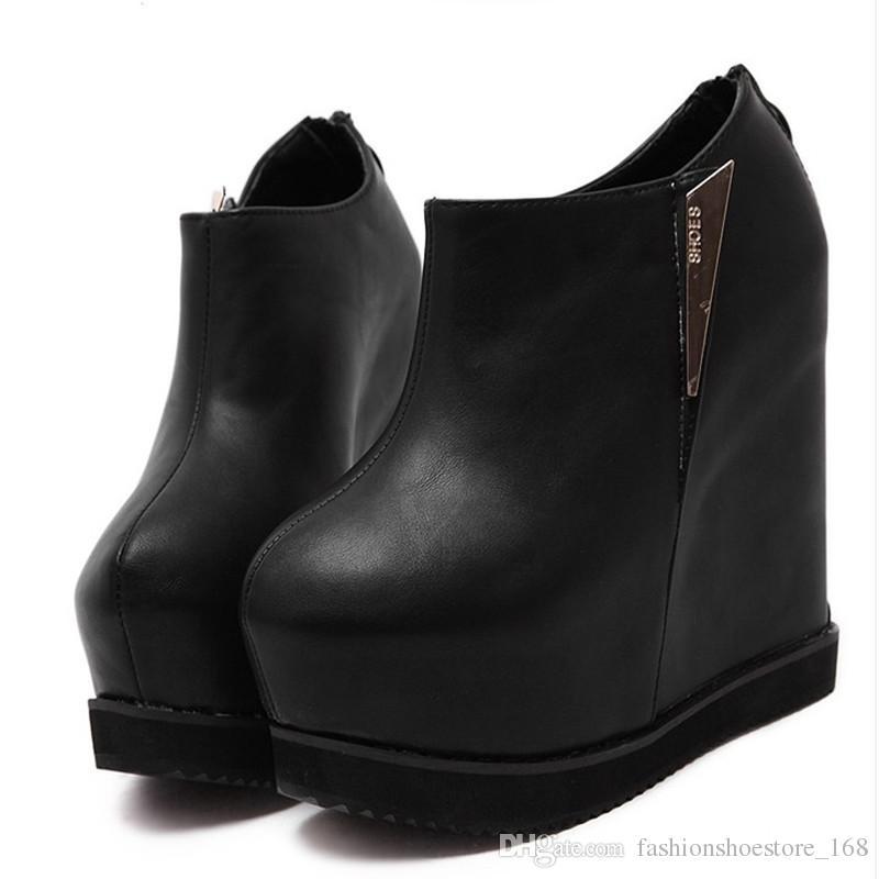 57ef291bd5795 Acheter 14 Cm Talons Hauts Bottes Noir Mode Plate Forme Cheville Bottes  Femmes Casual Bout Rond Cales Chaussures Sexy Femme Hauteur Pompes De Plus  En Plus ...