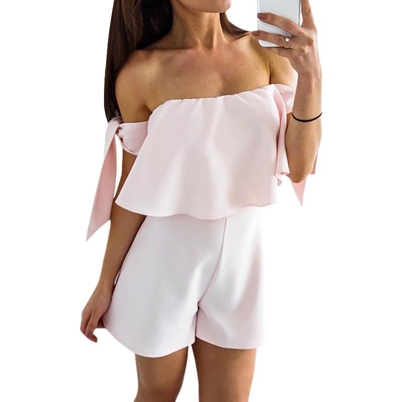 famous designer brand latest fashion reasonably priced Girls Kawaii Ruffles Playsuits Women Slash Neck Back Zipper Overall Summer  Short Jumpsuit Female Sweet Off Shoulder Romper GV701