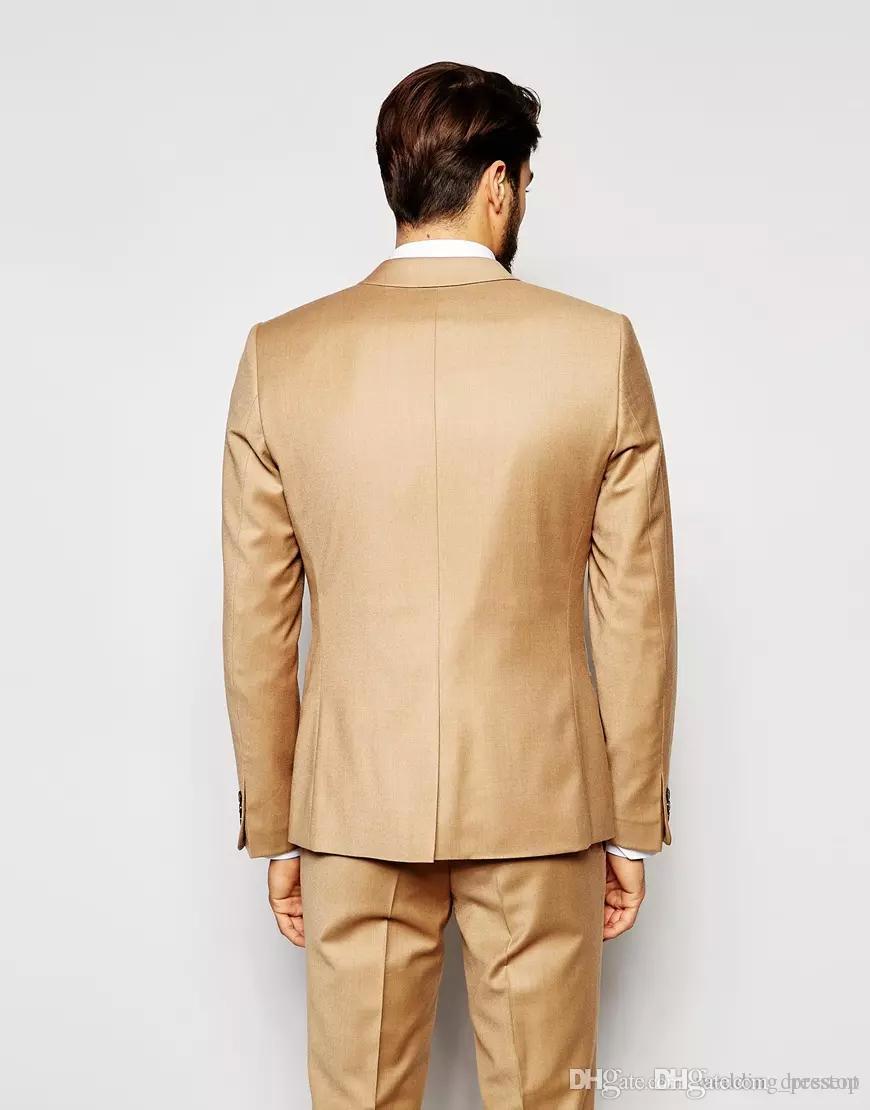 Neuesten Mantel-Hose Design Gold Hochzeit Anzüge Schön Slim Fit Herren Anzüge Bräutigam Smoking Nach Maß Formale Prom Anzüge Jacke + Pants + Weste + Tie