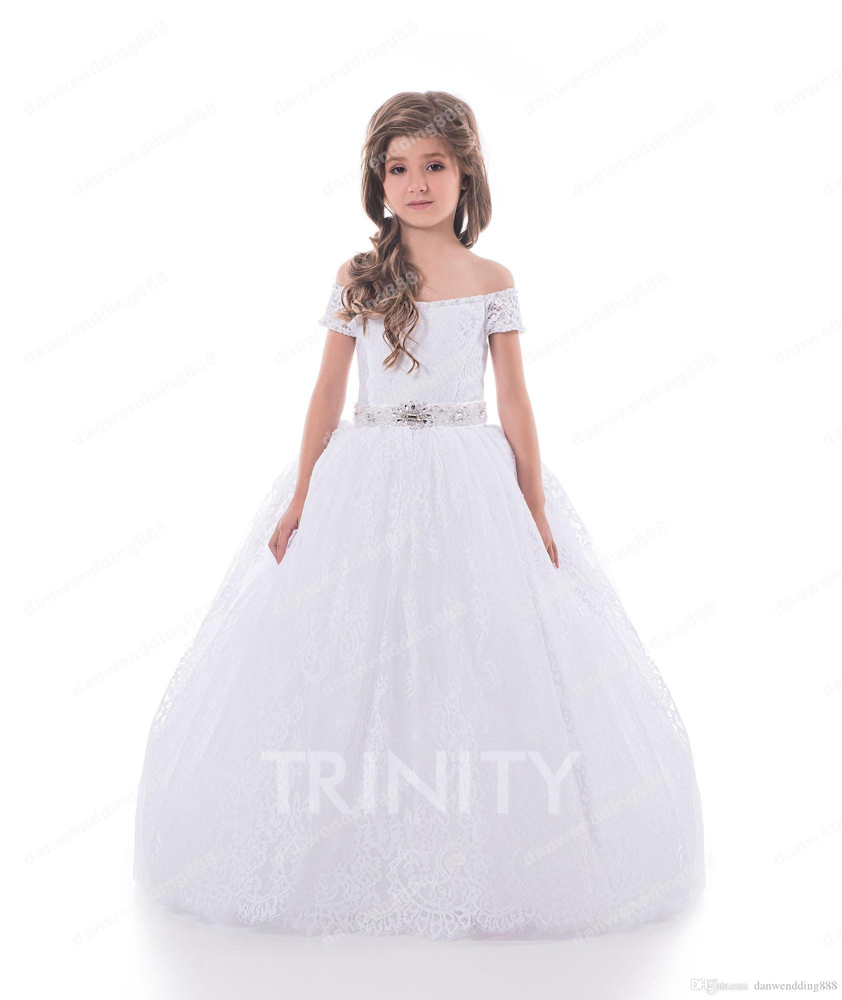 85ce5b75355 Beauty White Lace Off Shoulder Sash Flower Girl Dresses Princess Dresses  Girl s Pageant Dresses Custom Made Size 2-6 8 10 12 14 KF327250