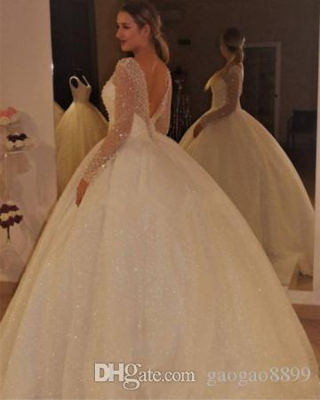 2018 Bling Bling Sequined Long Sleeves Wedding Dresses Ball Gowns Sweep Train Sexy V Neck Plus Size Wedding Gown