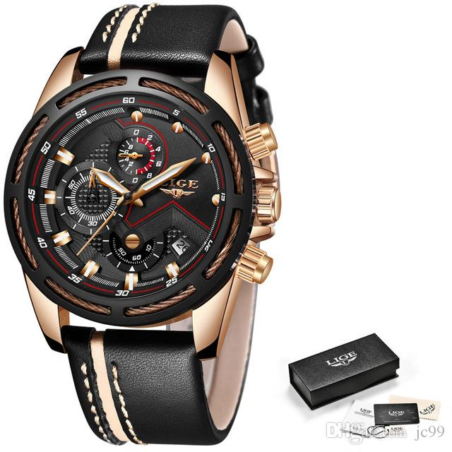 f2df2b35c653 Lige Mens Watches Top Brand Luxury Quartz Gold Watch Men Casual Leather  Military Waterproof Sport Wristwatch Relogio Masculino Wrist Watches For  Sale Buy ...