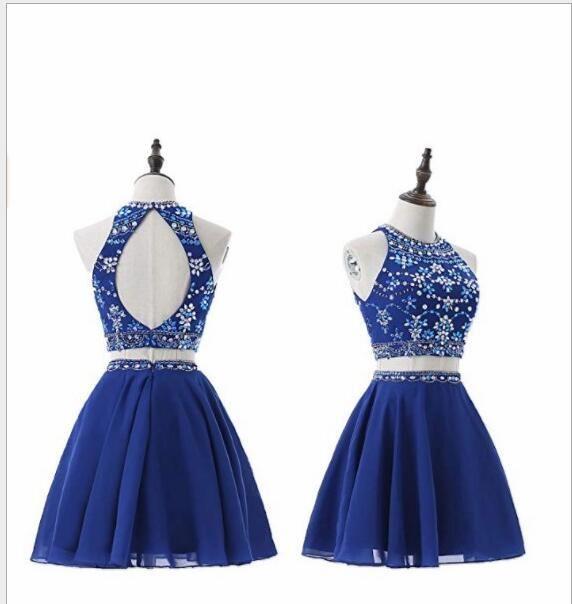 b0973ba1d Compre Sparkly Beaded Royal Blue Chiffon Crystal Dos Piezas Vestido De Fiesta  Corto 2019 Sin Tirantes Una Línea Dos Piezas Vestido De Fiesta Mini Mujer  ...