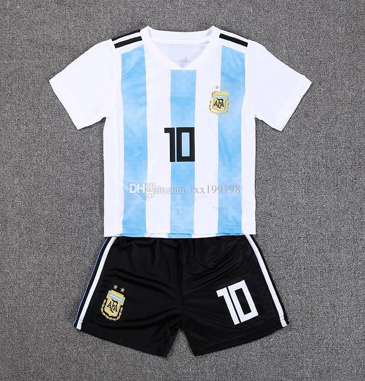 Compre Crianças Kit 2018 Copa Do Mundo 10 MESSI Argentina Camisa De Futebol  Criança Casa Di María AGUERO Dybala Camisa De Futebol Jovens Garotas  Uniformes ... 84b229a4f08