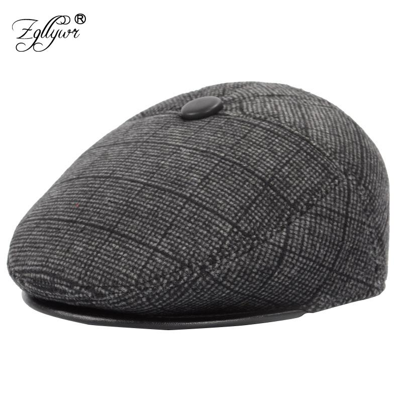 2019 Zgllywr Berets Cap For Men Vintage Wool Fleece Stripes Earflaps Ivy Caps  Winter Golf Driving Hats Movie Star Father Gift From Fotiaoqia 33be9ed0aba