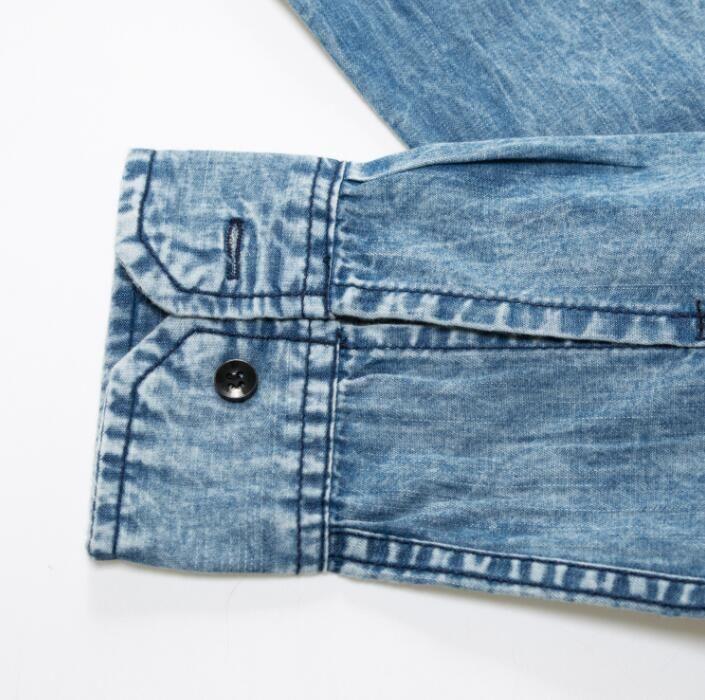 Men's Fashion Denim Shirt Full Sleeve Solid Casual Tops For Man Shirts Streetwear EUR Size Camisa Social Masculina