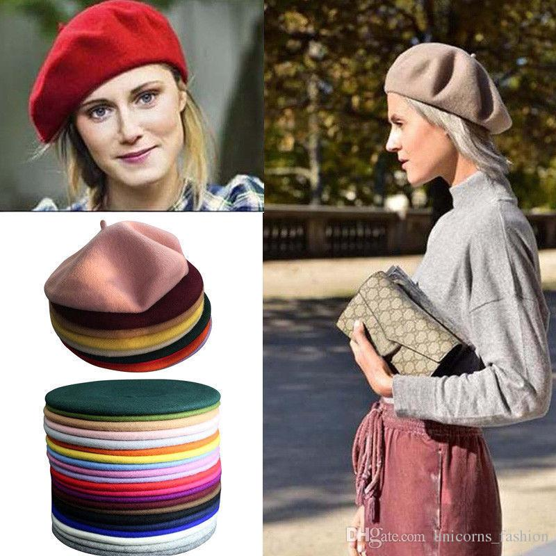 4fdf07f71ce 2019 Beret Hat Solid Wool French Artist Warm Beanie Hat Winter Ski Cap  Plain Beret Hat Wool CNY842 From Unicorns fashion