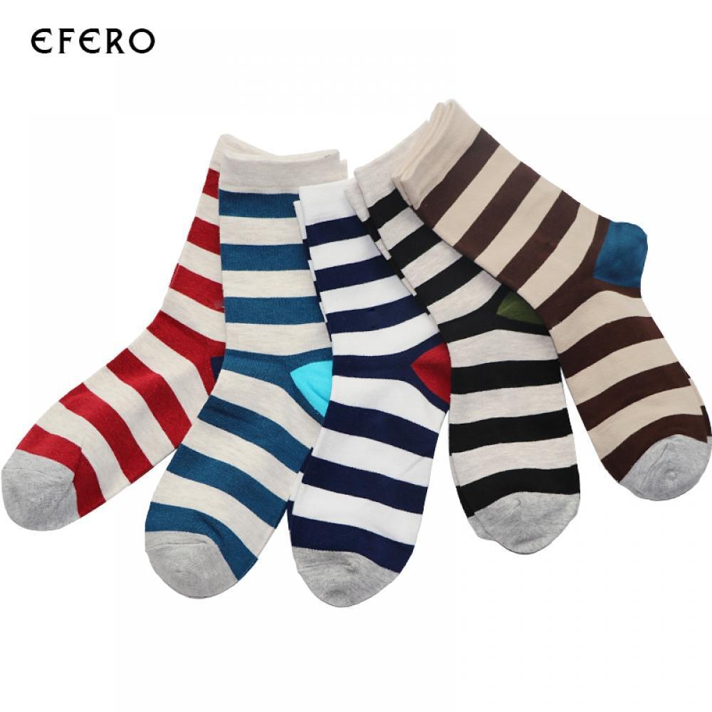 Men's Socks Efero 1pair Short Socks Art Funny Socks Men Calcetines Hombre Stripe Compression Colorful Socks For Male Dress Cotton Sock Meias