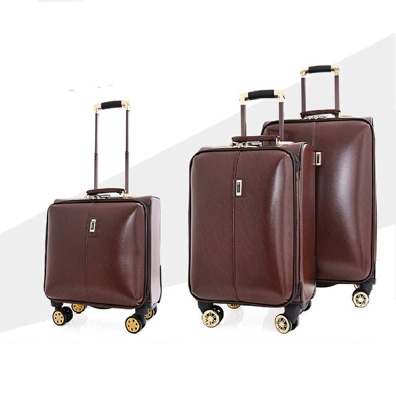 d102eb366f12 PU Leather Rolling Luggage Spinner 16 Inch Men Business Trolley ...
