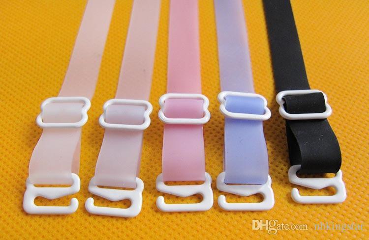 Frauen Convertible Bra Silikon-Bänder 1,5 cm breit Einstellbare elastische Unterwäsche Schultergurt Intimates Zubehör 60 Paare / Los