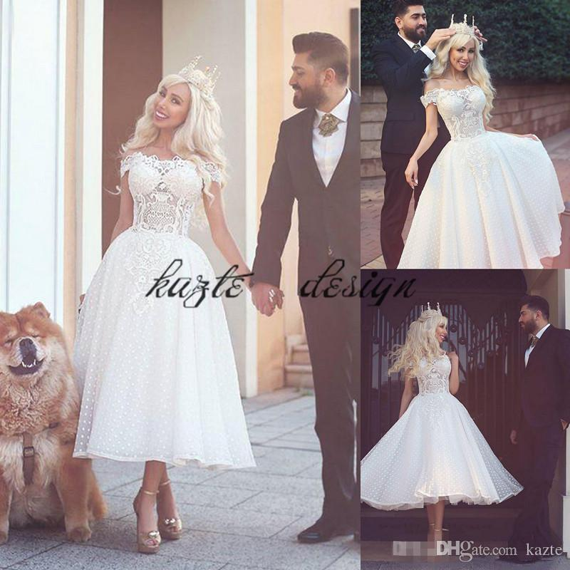 Discount Bateau Neckline Short Bridal Wedding Dress Lace Cap Sleeves ...