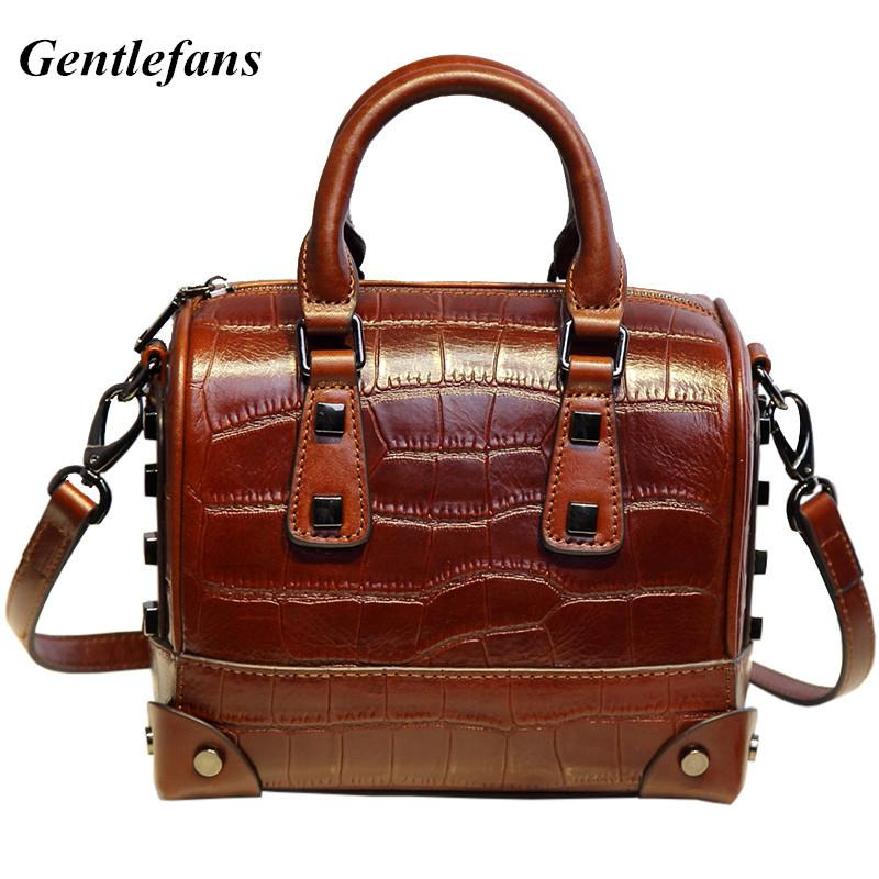 20cm Retro Rivets Women Boston Handbags Simple Casual Shoulder Bags brown Crocodile Bag traditional Pillow Bags France