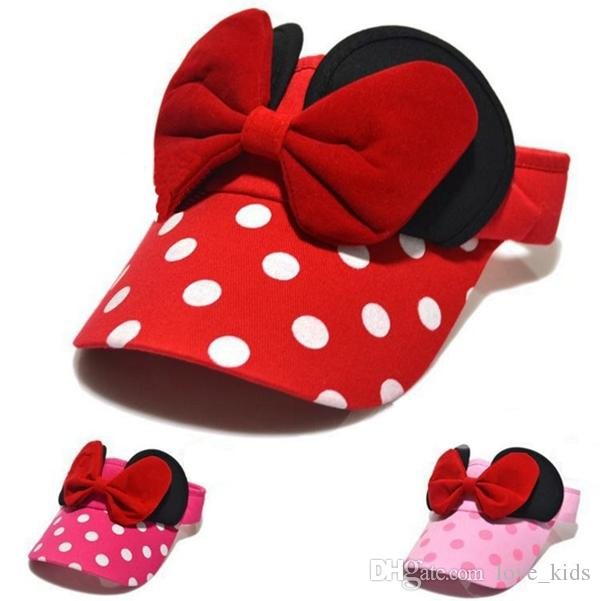New Baby Children Visors caps Hats Cartoon Bowknot Caps Kids Solid Color Dot Caps Girls Sun Hat Children Summer Hat